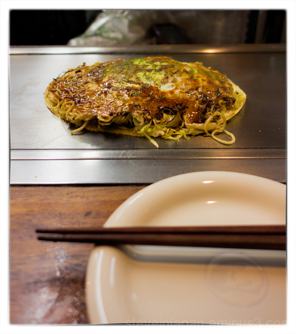 Excellent okonomiyaki at Restaurant Lopez.
