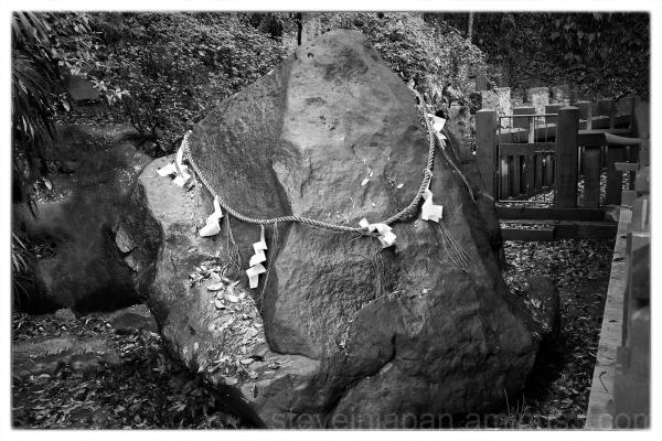 A sacred stone at Suwa Shrine in Nagasaki, Japan.