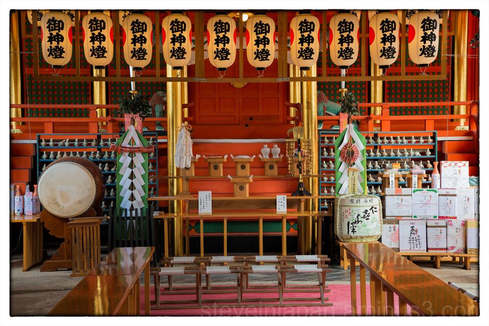 Sacred space inside Isaniwa-jinja.