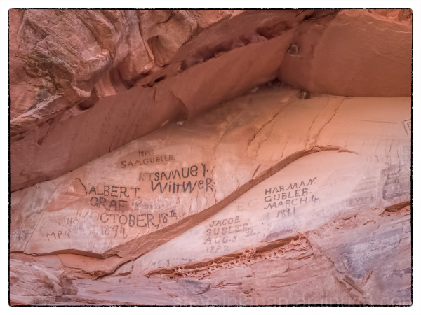 The pioneer names in Snow Canyon State Park, Utah.