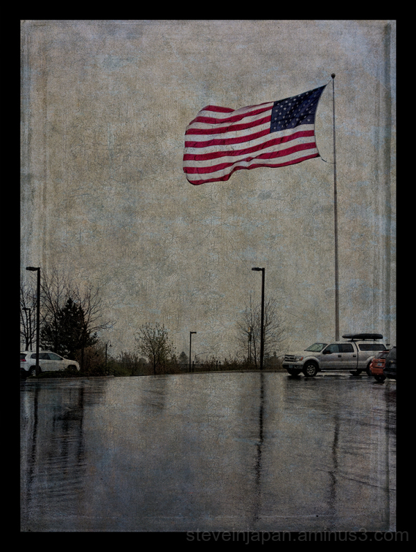 The US flag seen in a storm in South Dakota.