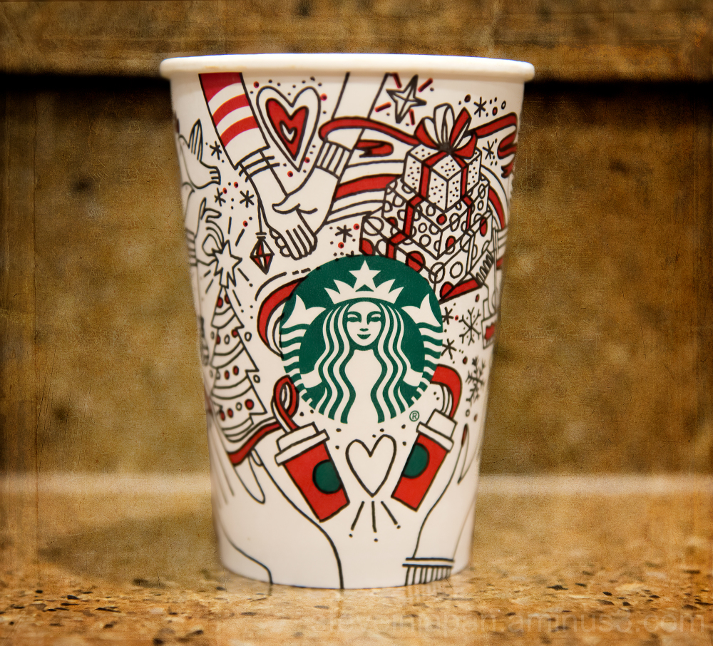 A Starbucks holiday cup.