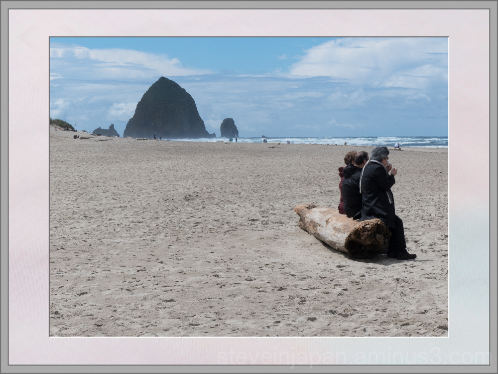 People on the beach at Cannon Beach.