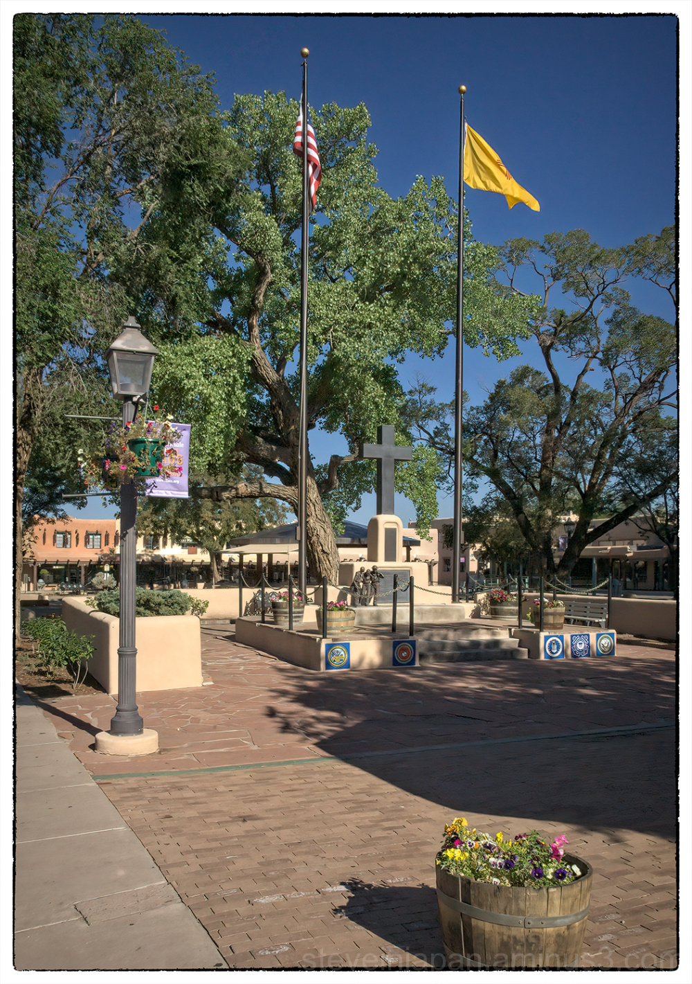 A memorial on the square in Taos, NM.