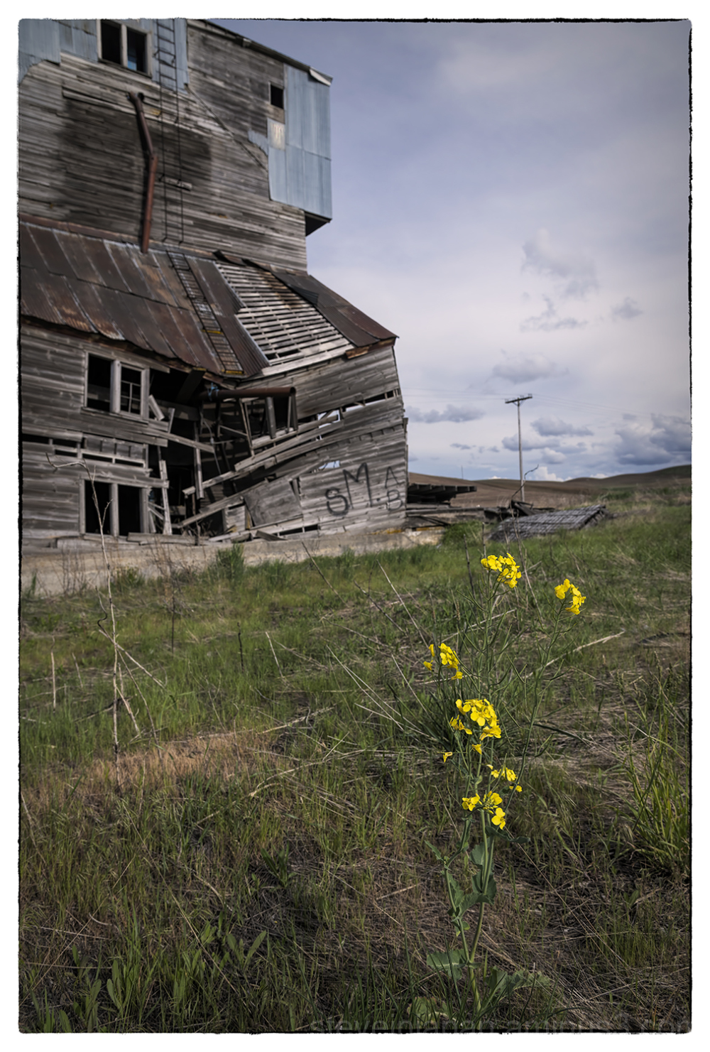 A dilapidated grain elevator in the Palouse.