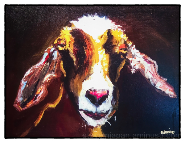 A goat painting at the Dancing Goats coffee shop.