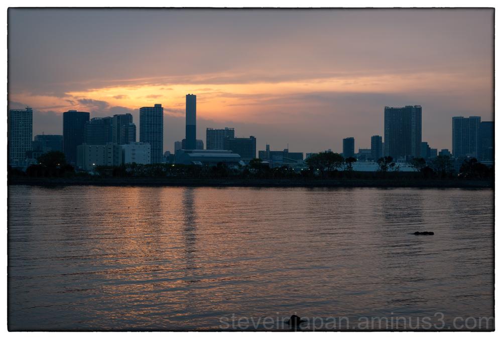 Sunset in Tokyo, Japan.
