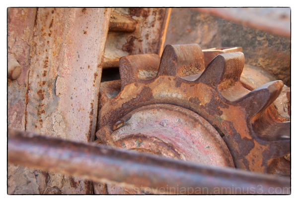 A rusty gear in Death Valley.