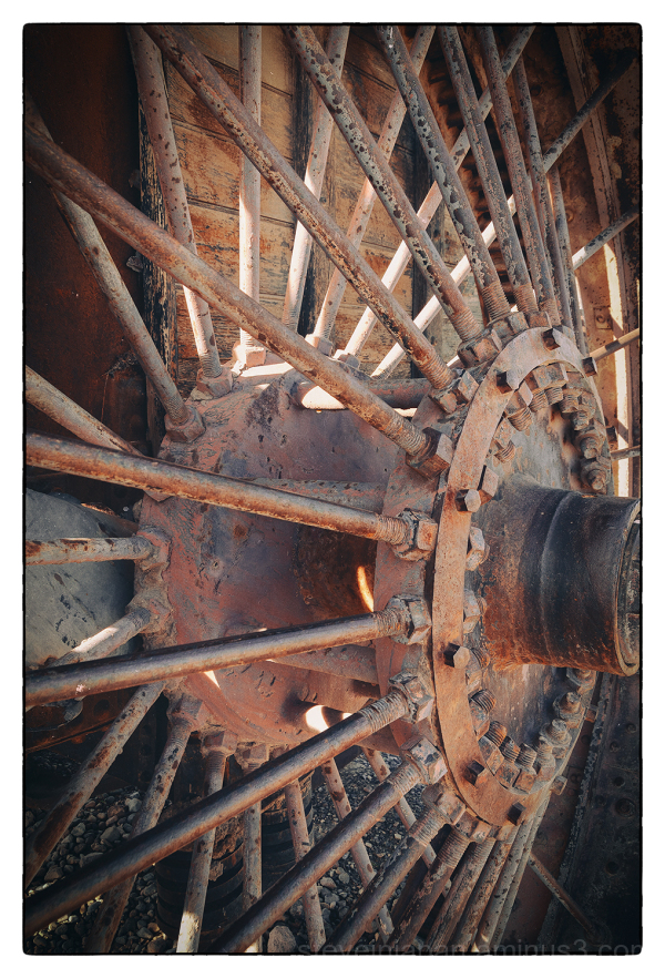 A rusty wheel in Death Valley.