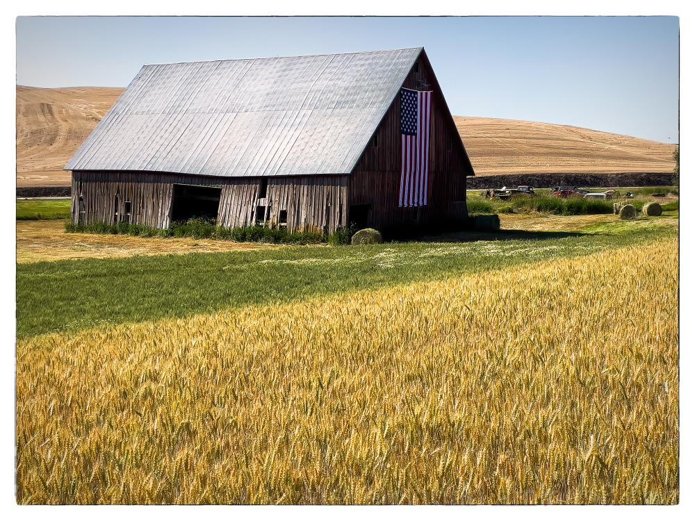 A flag barn in the Palouse.