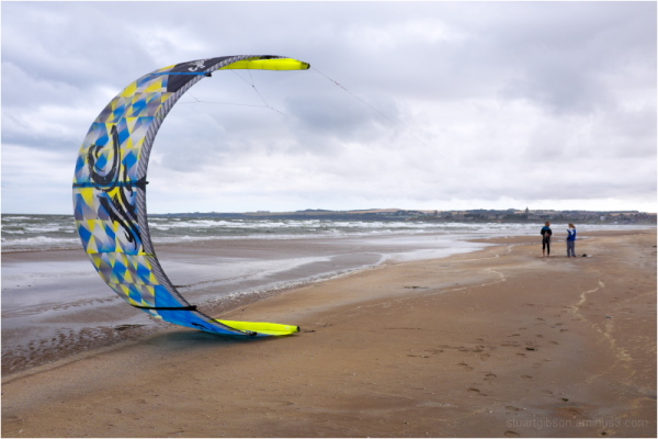 the kite surfers