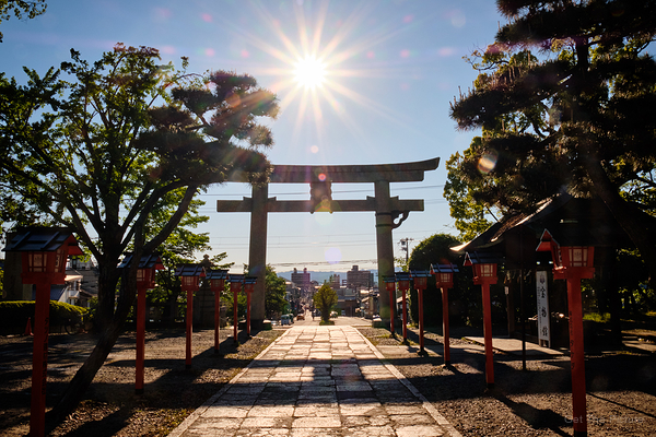 sunstar, over Toyokuni shrine