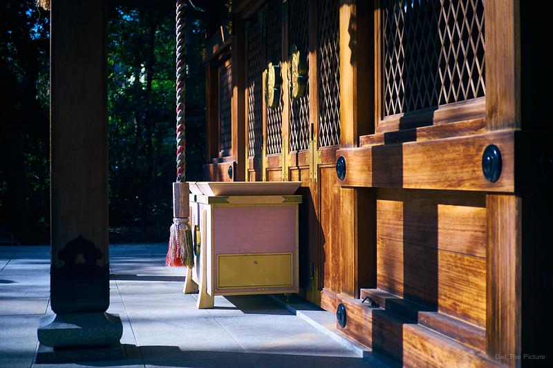 deserted shrine at golden hour