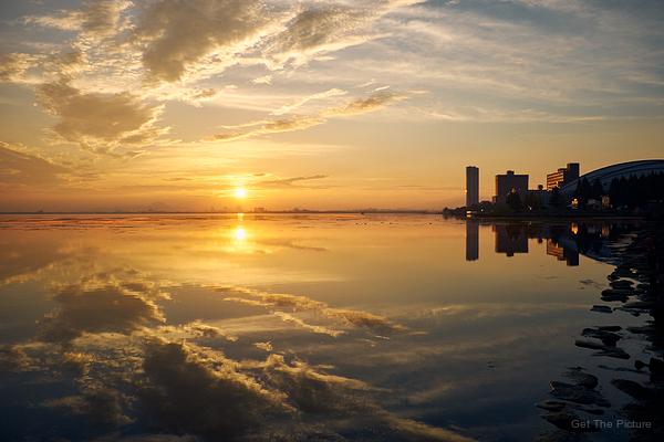 dawn glory on lake biwa