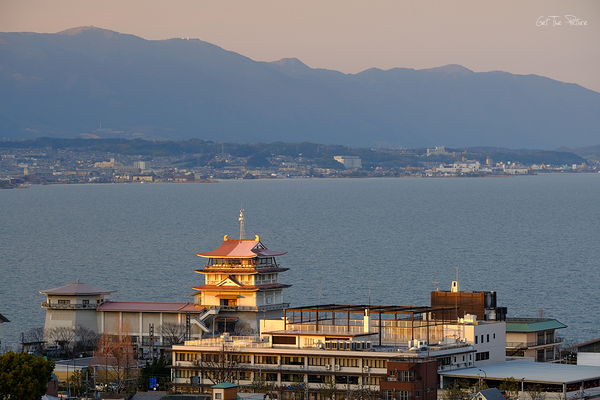 sunset on lake biwa