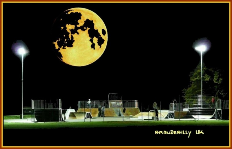 skateboard park moon night