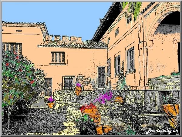 Spain courtyard ink drawing
