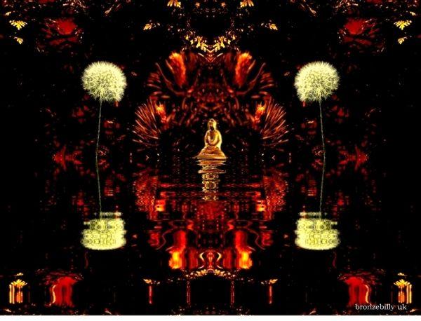 lakeside buddha temple dandelion fantasy bronzebil