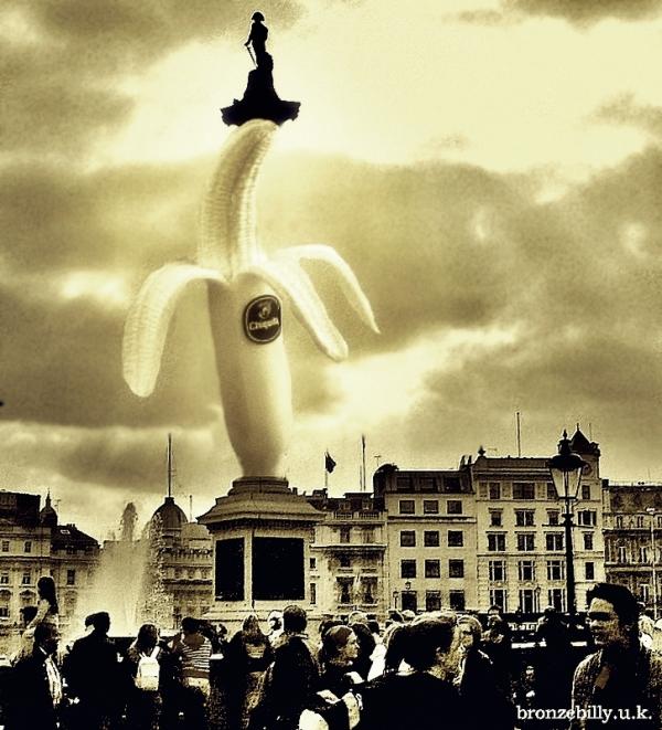 London Nelson column sky crowd banana fruit bronze
