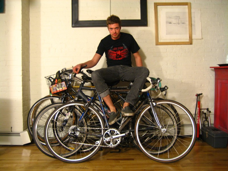 ...man with bikes...