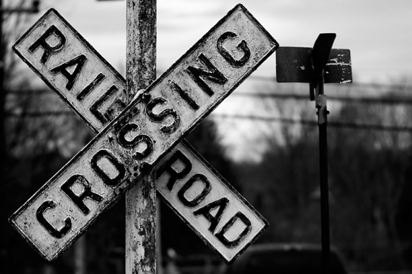 Railroad crossing sign in New Hope.