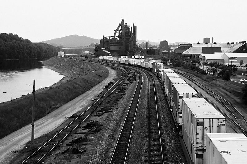 Bethlehem Steel black and white from bridge