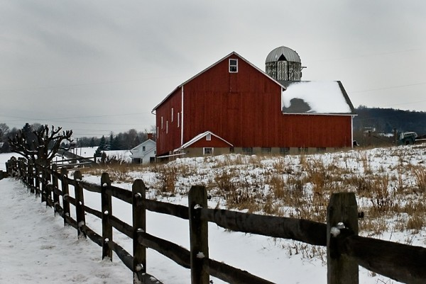 red barn snowy landscape