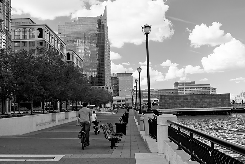 Bicycles on waterfront  promenade Jersey City