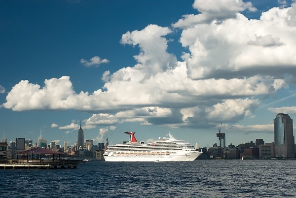 Cruiseship on Hudson River from NYC