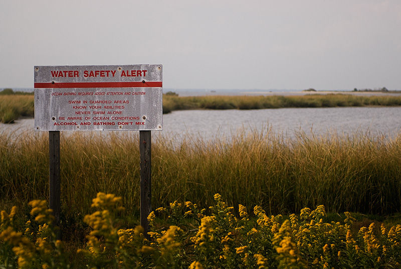 Sandy Hook beach water safety sign