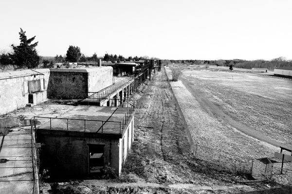 view from top of the gun batteries in Fort Hancock