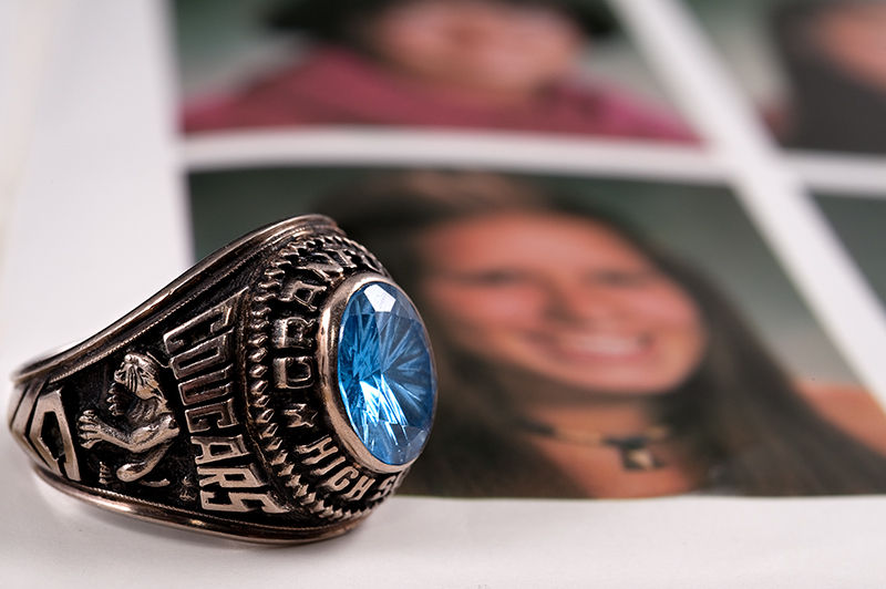 class rings and yearbook pages