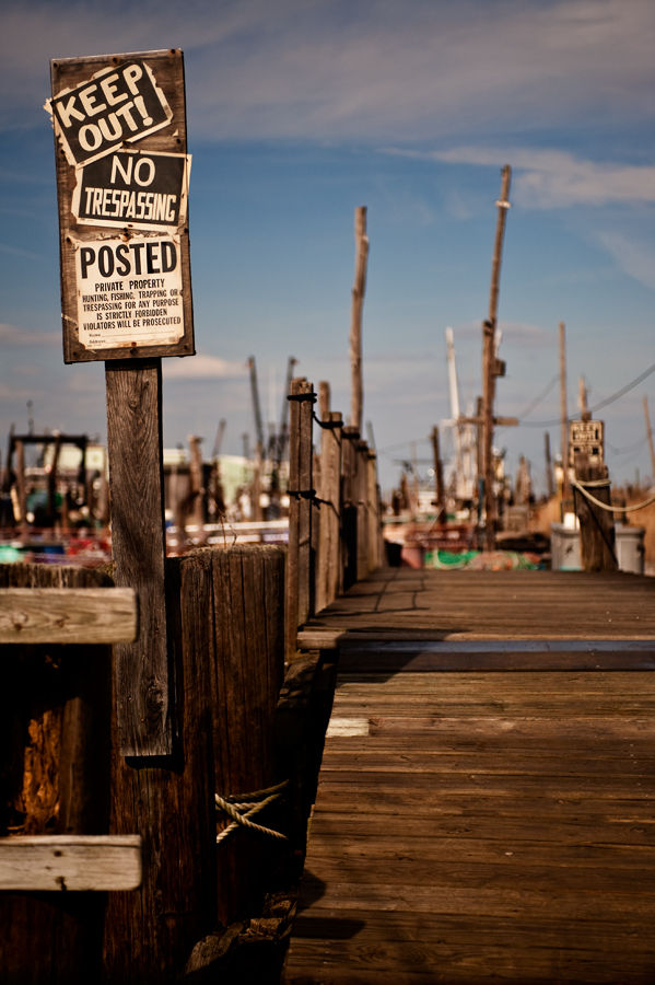 Keep Out signs on the fishing docks