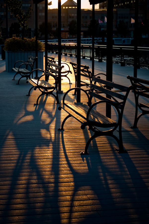 Long bench Shadows in Hoboken
