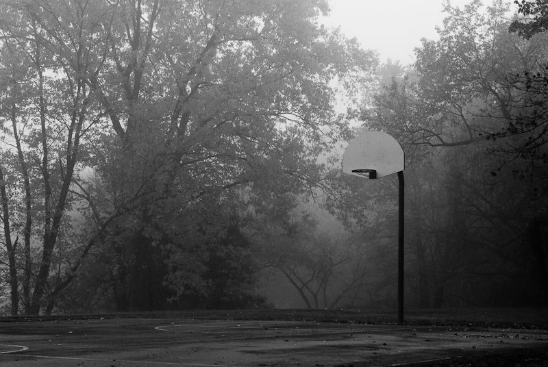 Foggy basketball court
