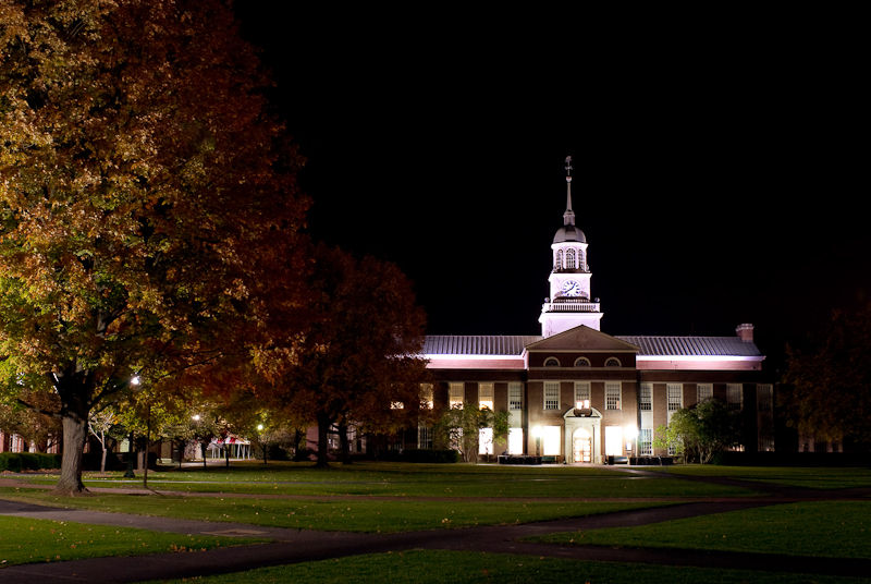 Bucknell Library lit up on a fall night