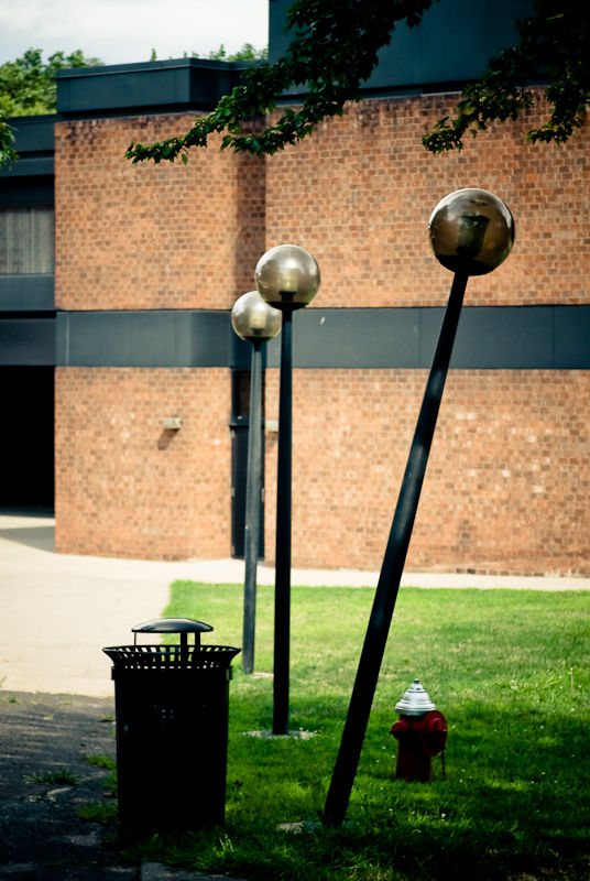 Tilted lamppost at Rutgers