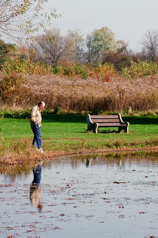Man by bench at pond