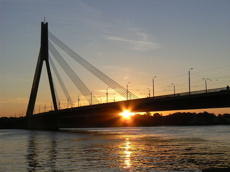 sunset riga bridge