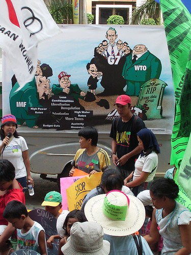 Protest outside the World Bank offices in Manila