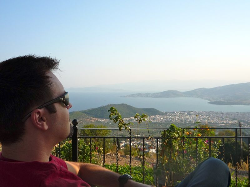 My husband is enjoying the beautiful view of Volos