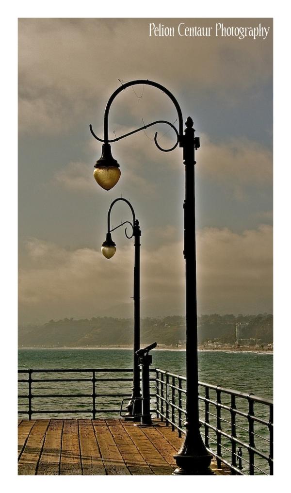 Street lights at Santa Monica pier