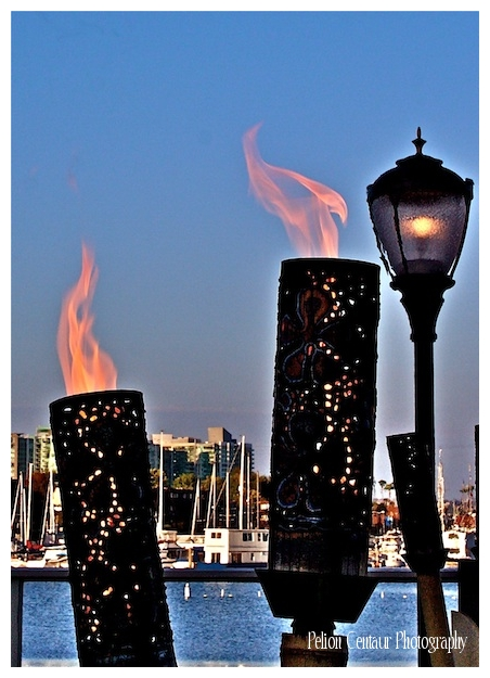 Torches and lamp in Santa Monica