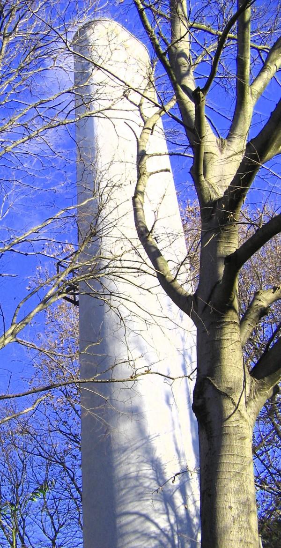 chimney steam tree blue urban scene