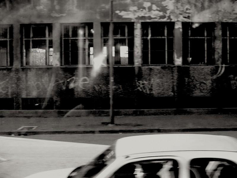 car from tram window