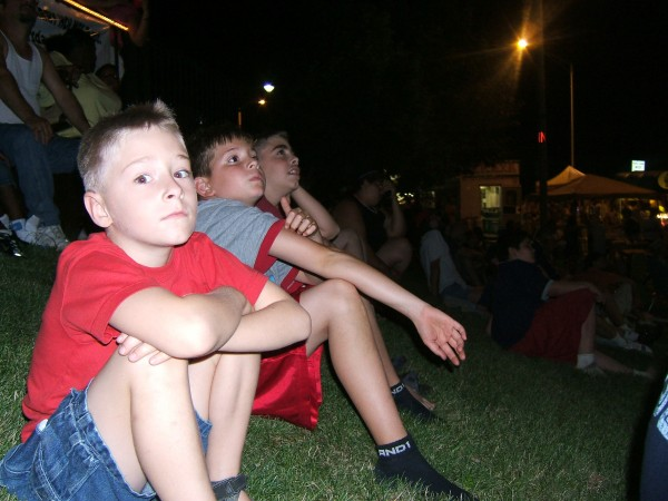 My sons and nephew watching the fireworks