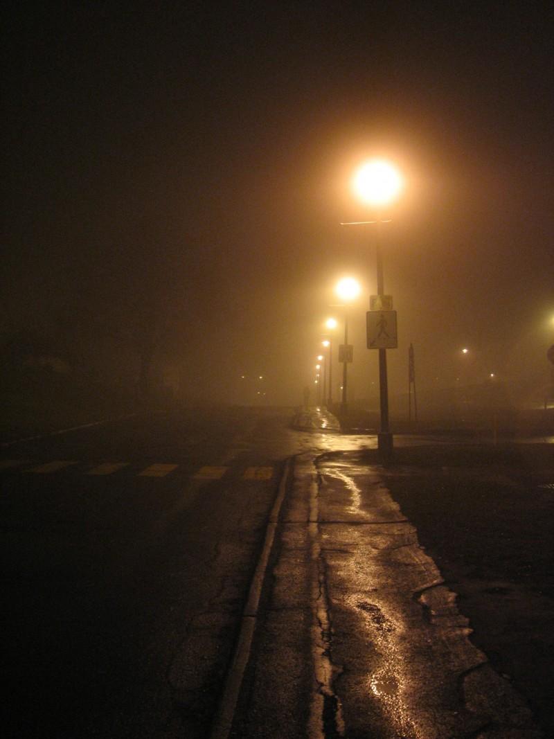 Man walking in the fog, Sherbrooke