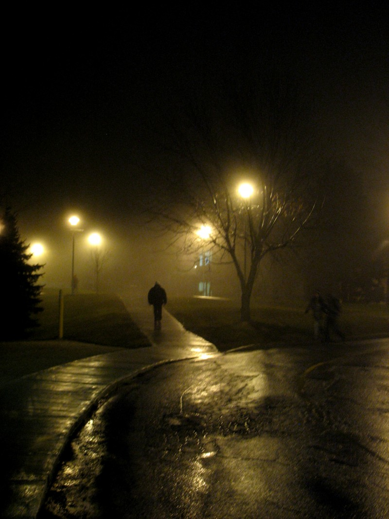 people walking in the fog, a night in Sherbrooke