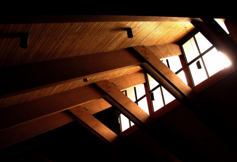 afternoon light through cathedral of gaspe windows