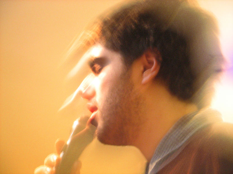 karaoke singer in action